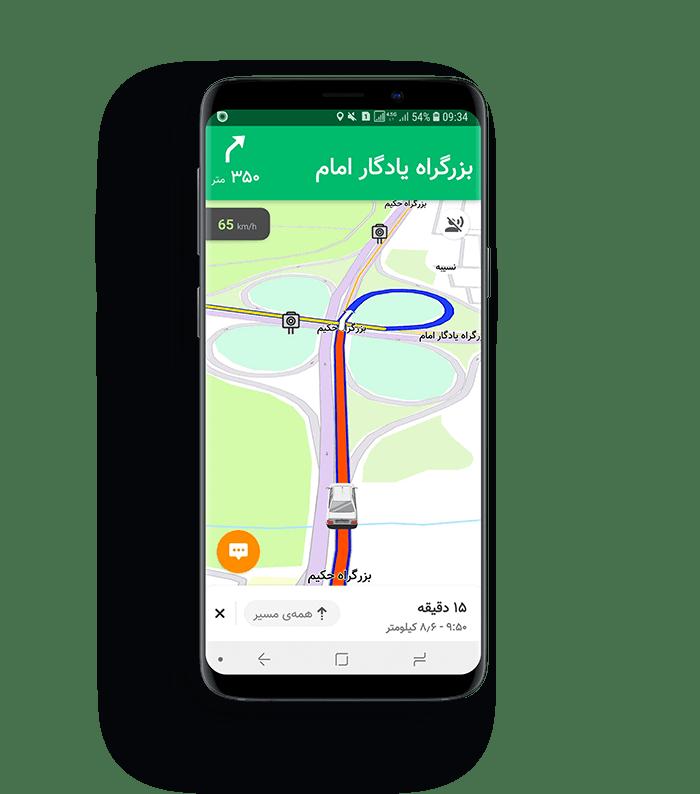 نقشه بلد به همراه ترافیک لحظهای خیابانها